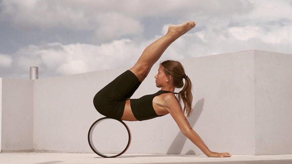 on yoga wheel